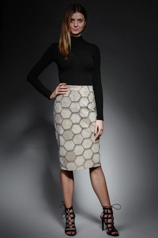 crochet suede pencil skirt – horovitz