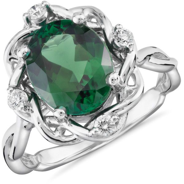 Blue Nile Oval-Cut Green Tourmaline and Diamond Weave Ring (€2.730) ❤ liked on Polyvore featuring jewelry, rings, blue nile rings, round ring, oval ring, blue nile jewelry and 18k jewelry