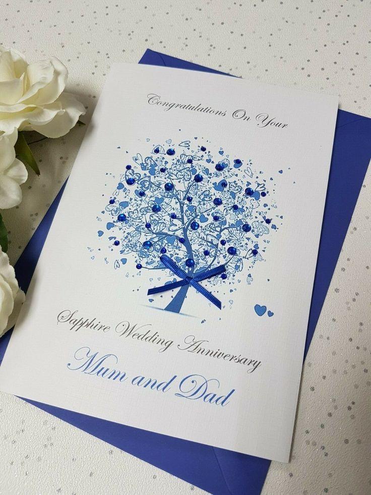 Sapphire 65th 45th Wedding Anniversary Card Handmade