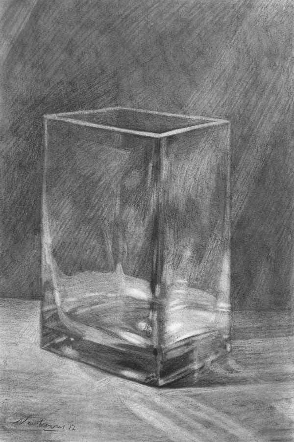 Glass Vase by Michael Newberry (Charcoal Drawing) http://michaelnewberry.com/mentor/Tutorial/charcoal/charcoal2.html