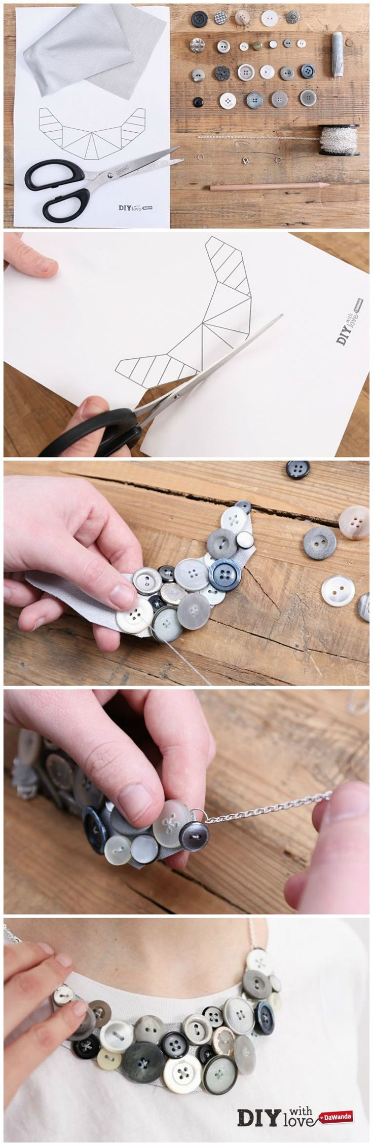 Realizzare una collana plastron riciclando vecchi bottoni - ecco come fare con il nostro DIY http://it.dawanda.com/tutorial-fai-da-te/creare-gioielli/realizzare-collana-plastron-bottoni