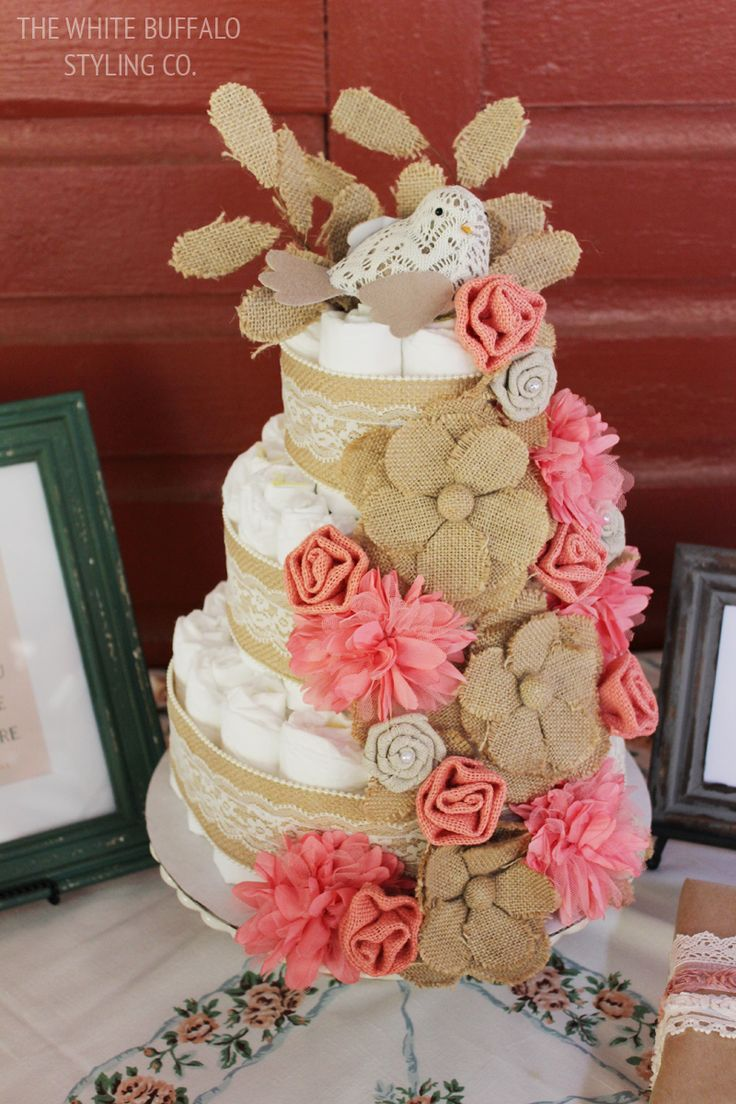 vintage u0026 rustic fall baby shower baby girl cakesgirl diaper