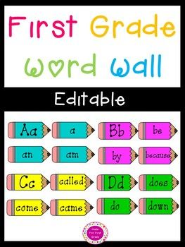 Over 100 words included! An appealing, colorful pencil themed word wall for your classroom. Completely EDITABLE! The words are currently first grade sight words. Enjoy : )