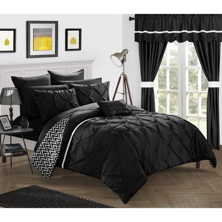 libra reversible chevron comforter set in black white chic home potterville 20 bed in a bag black 908