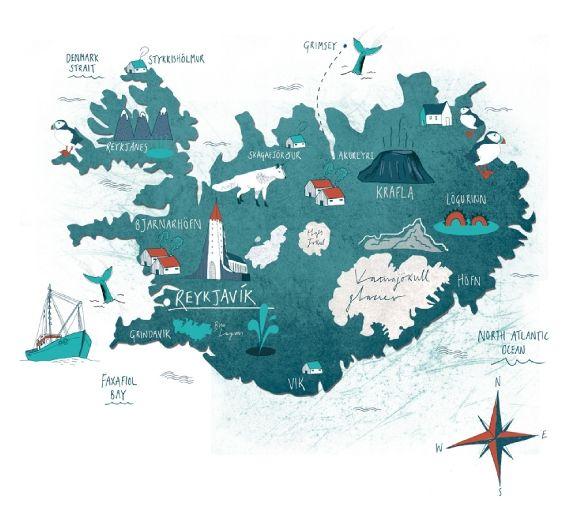 Mapa de #Islandia por Tonwen Jones