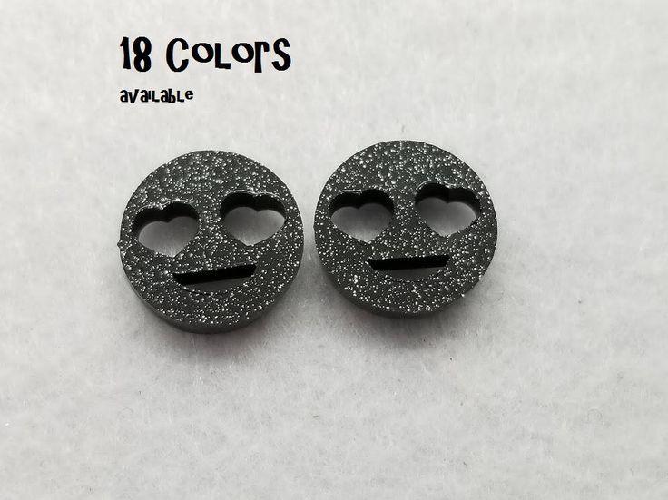YOU PICK COLOR - Emoji heart eyes Glitter acrylic laser cut cabochon - 8 pcs by UrbanEnV on Etsy https://www.etsy.com/listing/532276815/you-pick-color-emoji-heart-eyes-glitter