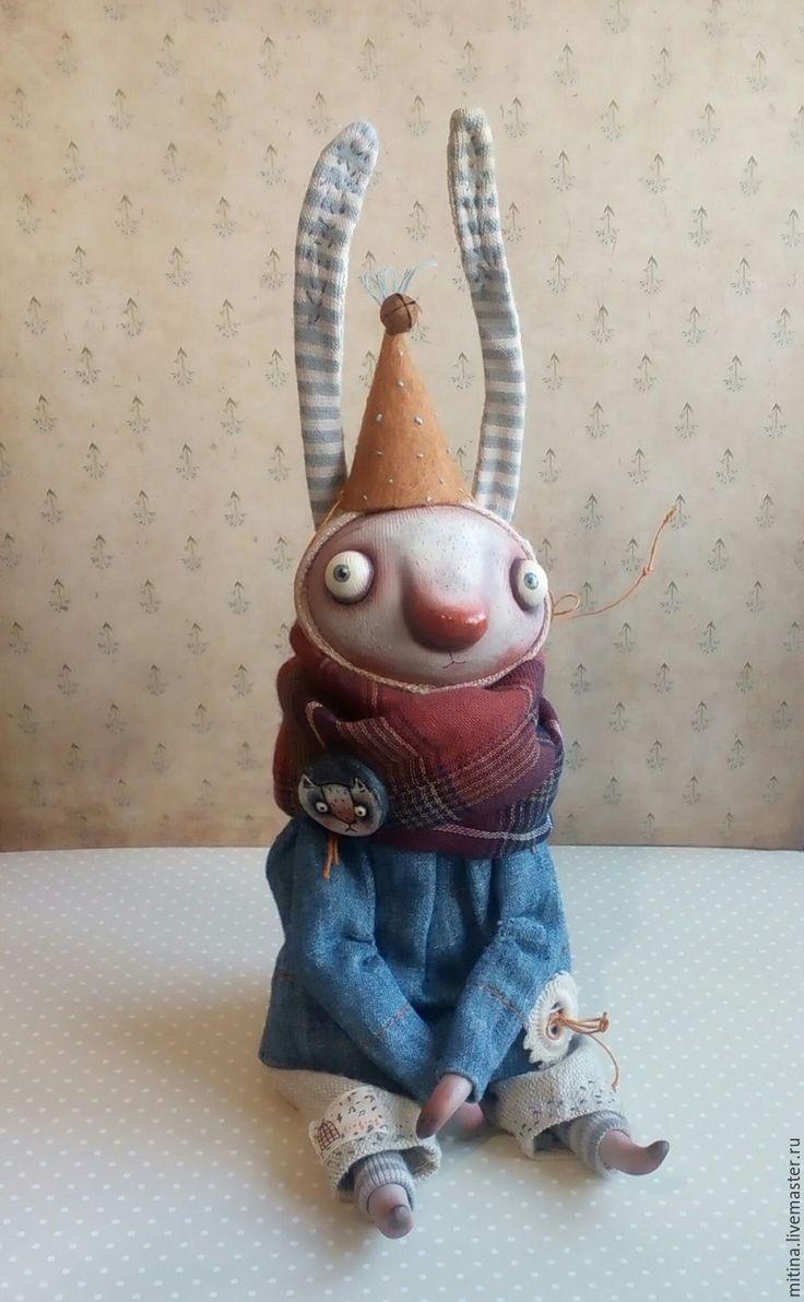 Купить Зайка в колпачке - голубой, серый, зайка, авторская игрушка, авторская кукла, лупоглазики, изолон