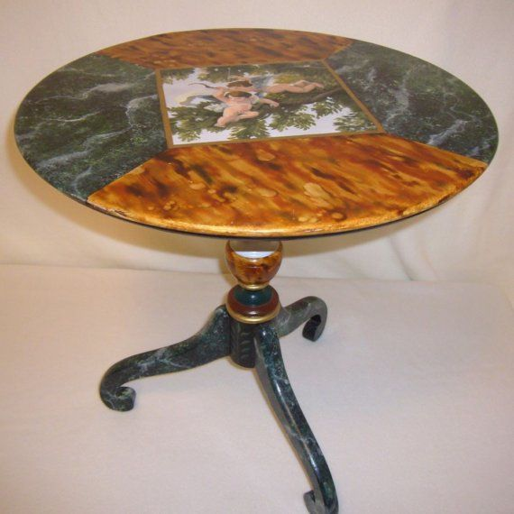 Table with Cupids by mfeganart on Etsy, $275.00
