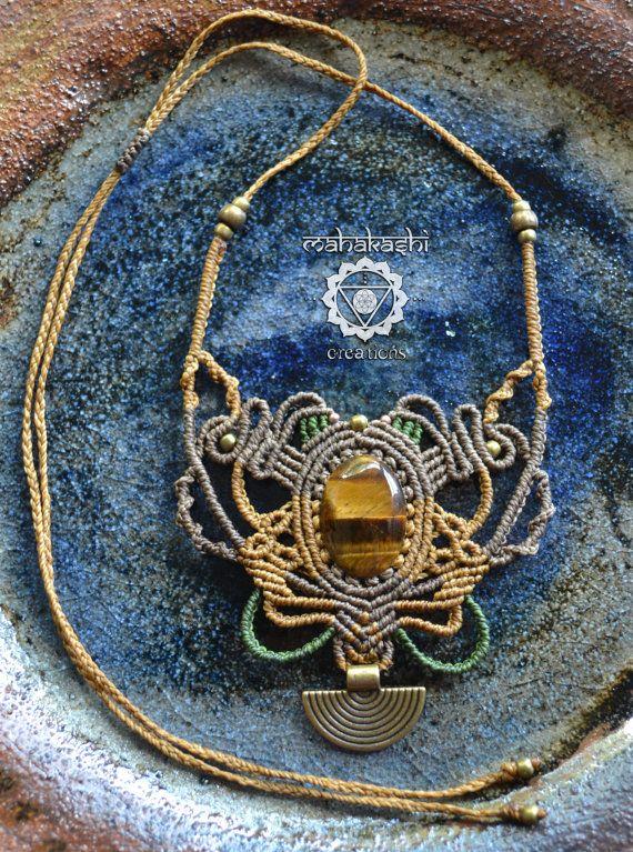 Macramè necklace with Tiger Eye by MahakashiCreations on Etsy