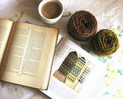 Perfect quiet day with three of my loves, reading, knitting, and caffeinating myself.