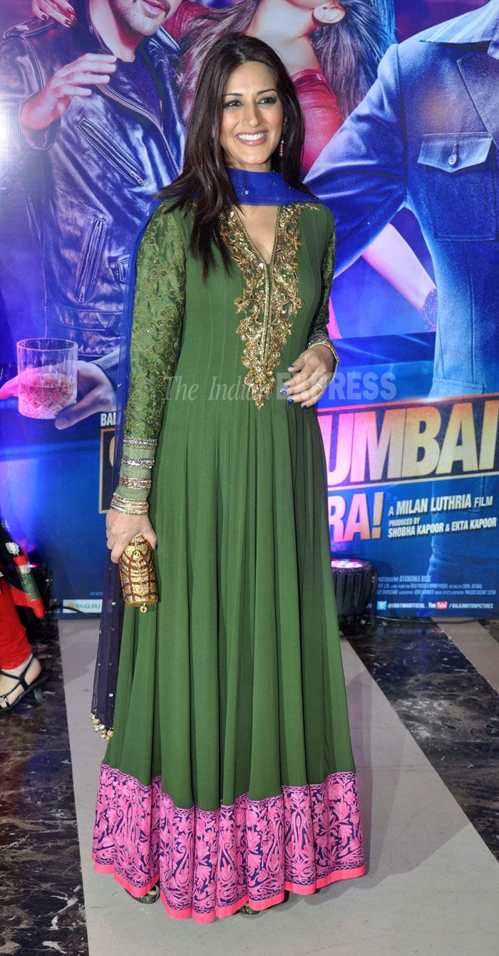 Sonali Bendre in an olive green anarkali by Manish Malhotra.  (Photo: Varinder Chawla)