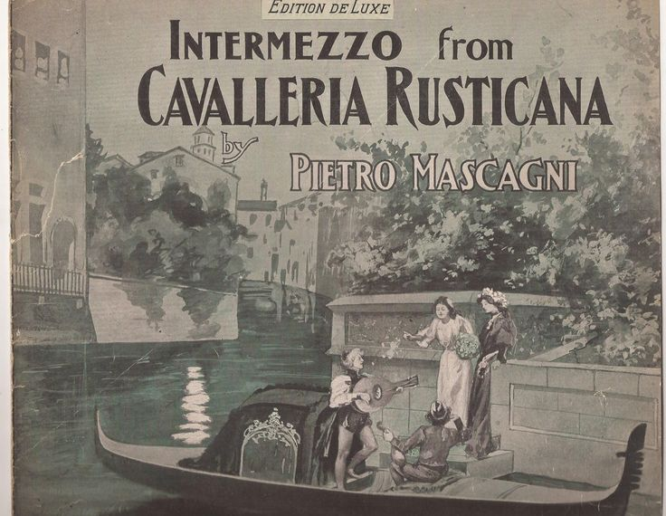 Intermezzo from Cavalleria Rusticana, Pietro Mascagni, Vintage Home Decor, Sheet Music COVER ONLY, Shades of Green, Gondola, Canal Scene by BettywasaBombshell on Etsy