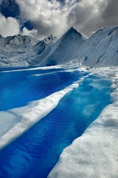The glacier flow in Patagonia, Chile.