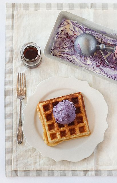 ❥ Brown Butter Waffles with No-Churn Blueberry Ice Cream