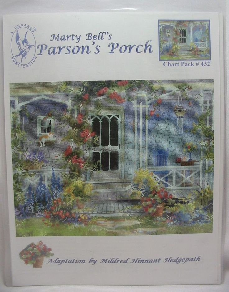 Marty Bell's Parson's Porch Counted Cross Stitch Pattern Chart Pack #432 Pegasus #Pegasus #Frame