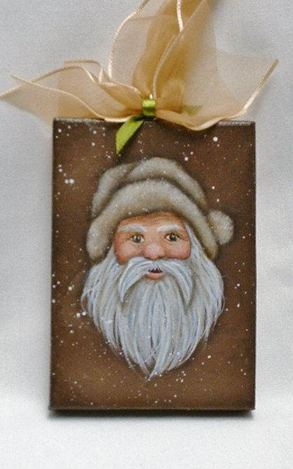 Mini Canvas Santa Ornament  Hand Painted by FromGramsHouse on Etsy