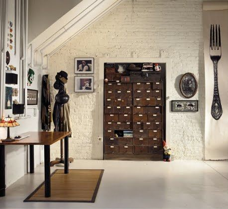 cabinet: Industrial Furniture, Decor, The Loft, Amazing Interiors, Interiors Design, Index Cards, Old Cabinets, Expo Brick, Home Inspiration