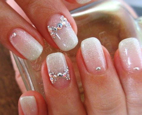 Add a little glitz to a French manicure!