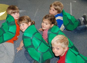 Photo of Children with a turtle craft