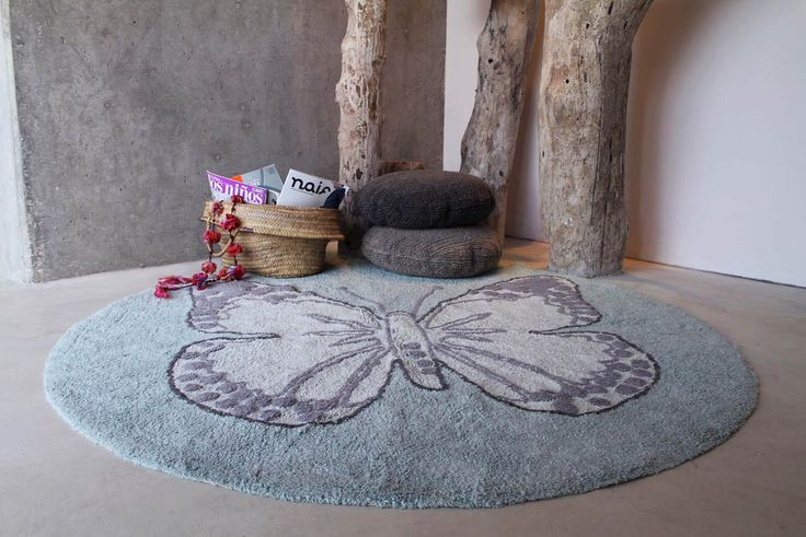 Washable rug Butterfly Green/Alfombra lavable Green