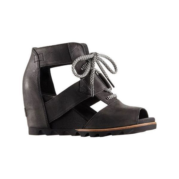Women's Sorel Joanie Lace Up Wedge Sandal ($150) ❤ liked on Polyvore featuring shoes, sandals, casual, heels, peep toe wedge sandals, black sandals, lace-up heel sandals, lace up sandals and heeled sandals #sandalsheelscasual