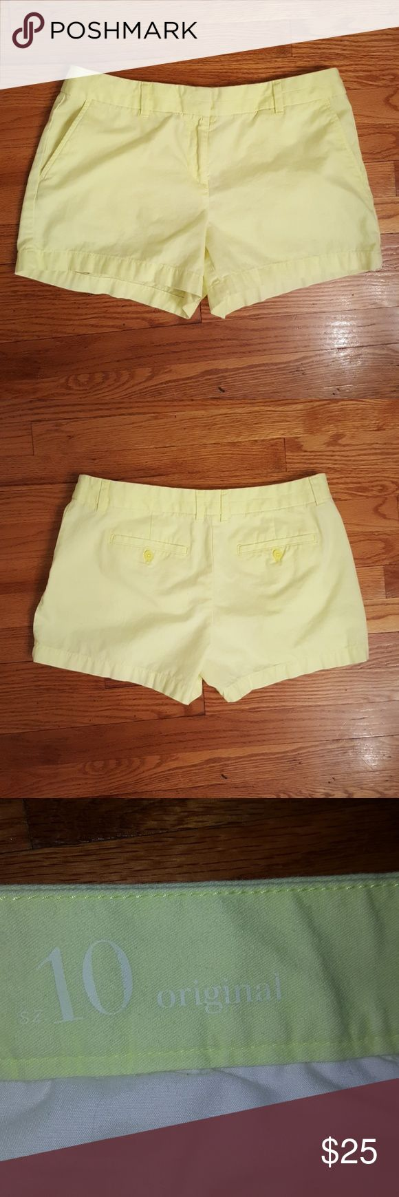 "EUC Ann Taylor LOFT neon yellow shorts Worn once. In excellent condition. Super duper soft too!! Color is a soft neon yellow - it looks very sunwashed and happy.  Fit like a true size 10. Inseam 3.5"", approx 12"" leg opening, waist 16.5"" (flat).  Non-smoking home, offers welcome but lowballs will be ignored. LOFT Shorts"