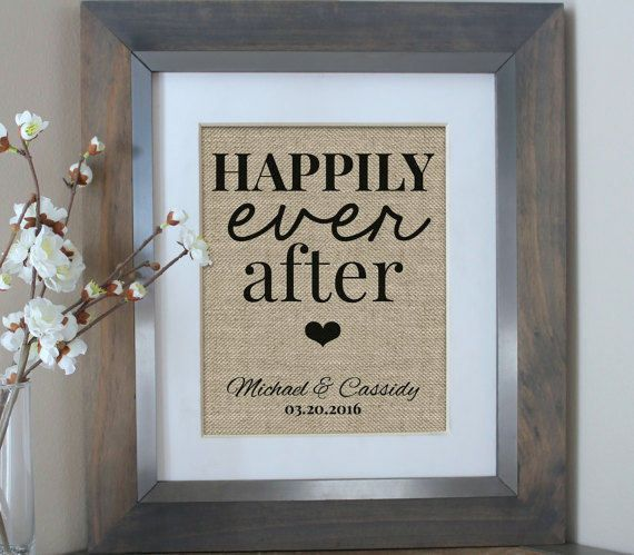Happily Ever After Burlap Print Bridal Shower Gift by EmmaAndTheBean | Etsy