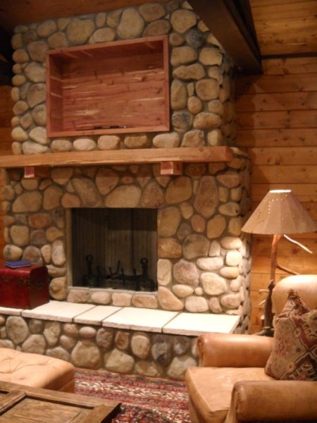 Colorado River Rock Fire Place @ the Cabin (not finished here)