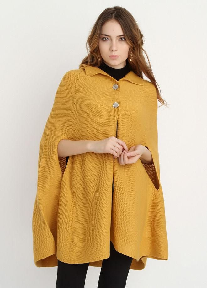 Two Buttoned Knitwear Poncho