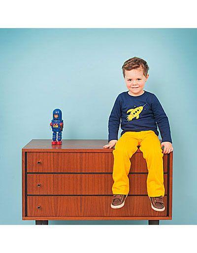 Marineblauwe sweater Miel met gele raket - Lily-Balou - Pepatino.be