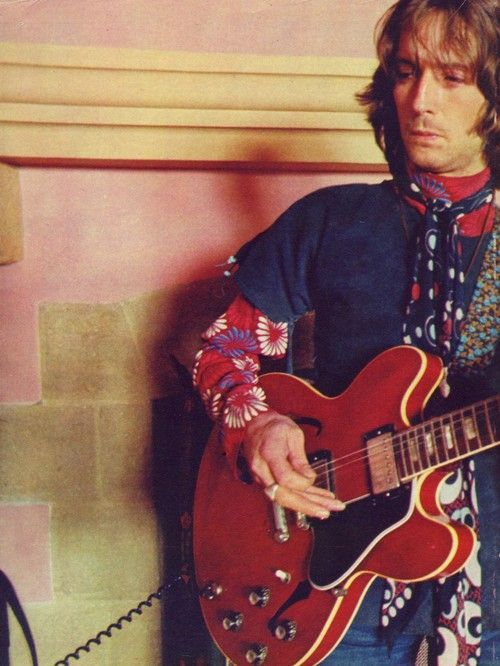 Eric Clapton with by his estimation his most historically significant guitar. A 1964 Gibson ES-335 TDC, bought with his yardbirds earnings.