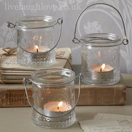 Fleur De Lys Glass Tea Light Holders, Set Of Three £7.95 From Livelaughlove.