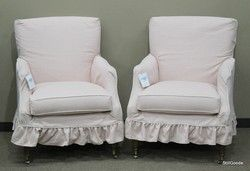 """Pair of """"Elsa"""" arm chairs by Southern Furniture with light pink slipcovers. Brand new on consignment from designer home furnishings store. #OnTheShowroomFloor #Pair #Elsa #Chairs #Southern #Furniture #Pink #Slipcover #NEW #Designer #StillGoode"""
