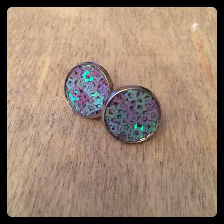 Fialkové a modré hvezdičky ve stříbrném lůžku, 14 mm