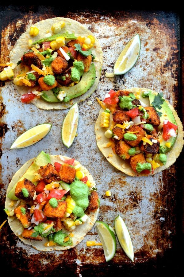 Loaded Crispy Tofu Tacos by thewoksoflife.com, Too tasty not to share with the vegan community: just change yogurt to olive oil for the sauce.