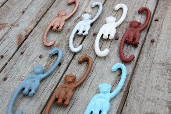 Hanging Monkey Pick Your Color Cast Iron Hook for by RobsRustics, $9.99. These would be cute to hang from your pot rack (as decoration only).
