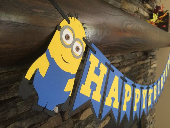 Minion Inspired Birthday Banner Minion Party by PaperMadeParty