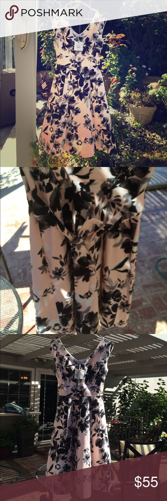 BOUGHT IN LONDON,UK NWT A line below knee dress Classy & elegant A line dress with petticoat under to give extra flair! Gray, black & white floral print on a peachy pink dress perfect for English tea ! Authentic bought in London BHS (British Home Store) for £55 ($72) sophie gray Dresses Midi