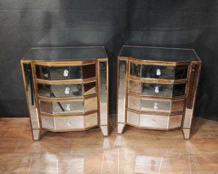Pair Mirrored Deco Bedside Chests Nightstands Mirror Furniture Tables