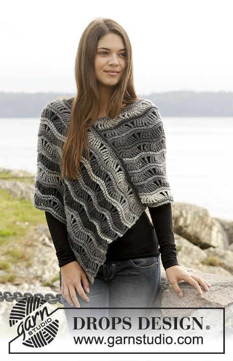 """Better Days - Crochet DROPS poncho with lace pattern in """"Big Delight"""". Size: S - XXXL - Free pattern by DROPS Design"""