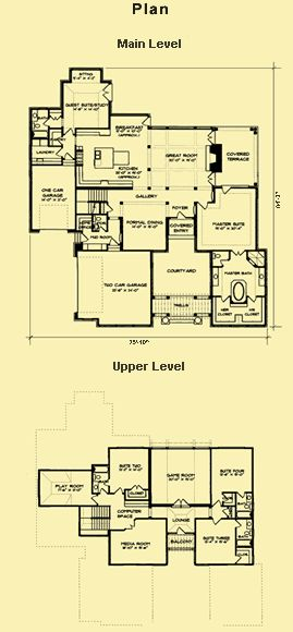 Home Plans With Courtyards In Law Suite Plans French