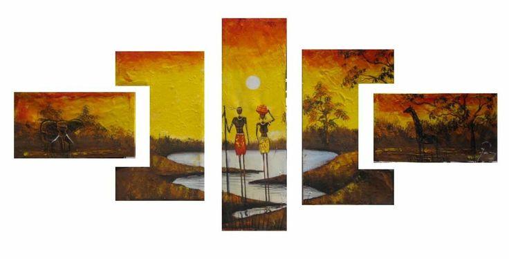 Checa esta pintura moderna, cuadro triptico (o mas bien poliptico) en cinco piezas, los paneles de las esquinas de formas distintas son muy originales. #arte #cuadrotriptico