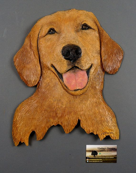 Golden retriever carved on wood carving hand made