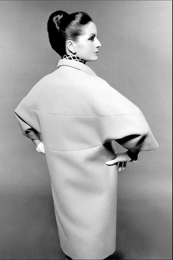 Doris Kleiner (Mrs. Yul Brynner) in a coat by Balenciaga. Photo by Bert Stern for British Vogue, 1964.