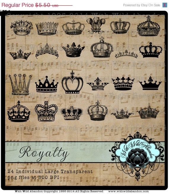 Crown Clipart Monarch Reina Realeza por withwildabandon en Etsy, $1,38