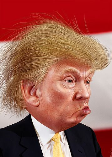 Donald Trump - Caricature | by DonkeyHotey. Look at that face. Would you really want that leading our country?