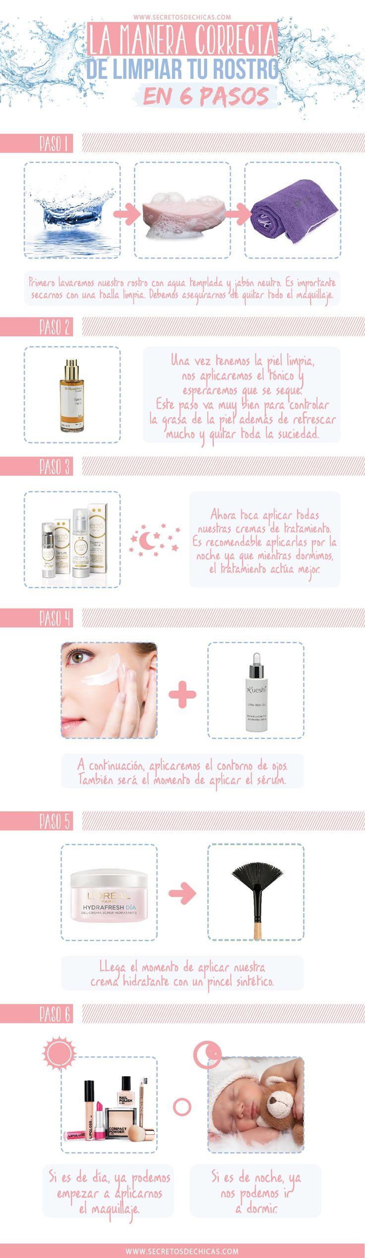 La manera correcta de limpiar tu rostro en 6 pasos
