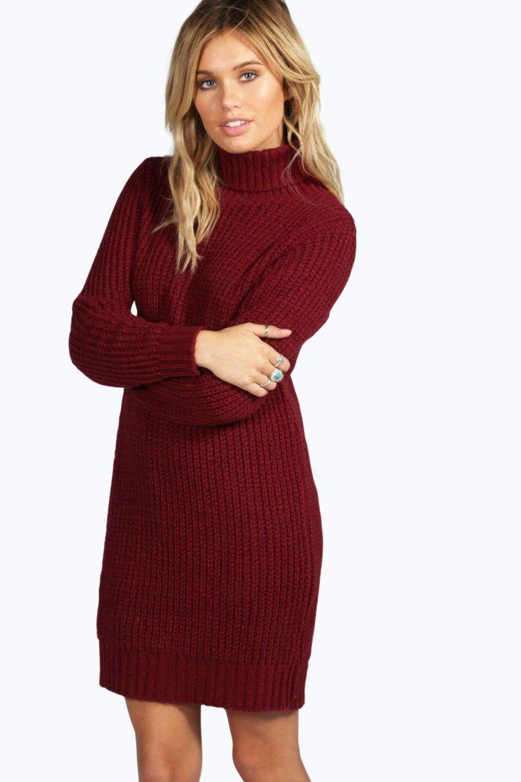 Maisie Roll Neck Soft Knit Jumper Dress