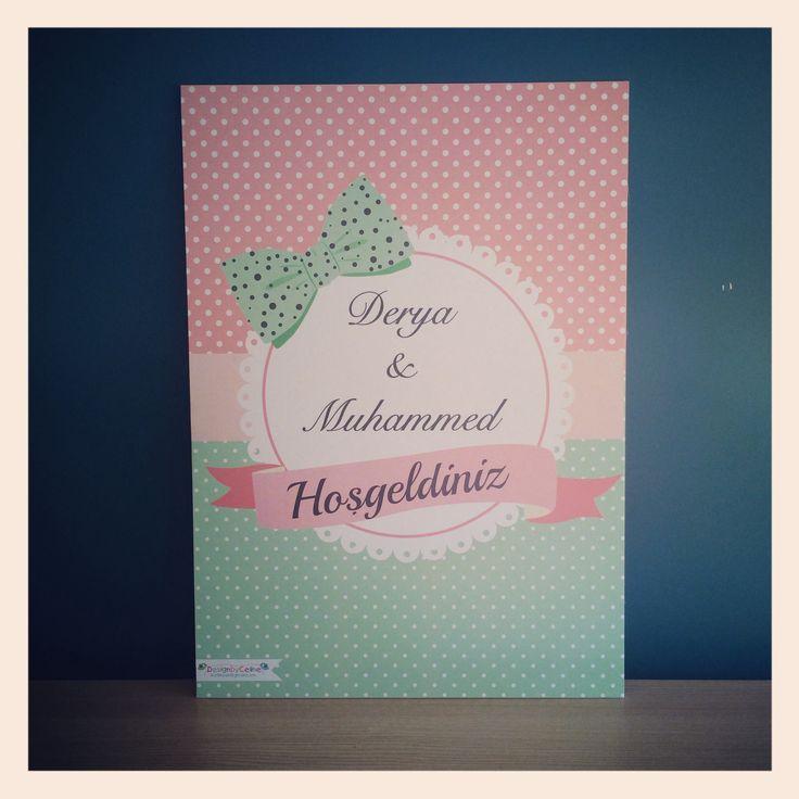 #pink #mint #love #wedding #poster #ribbon #wedding #designbyceline