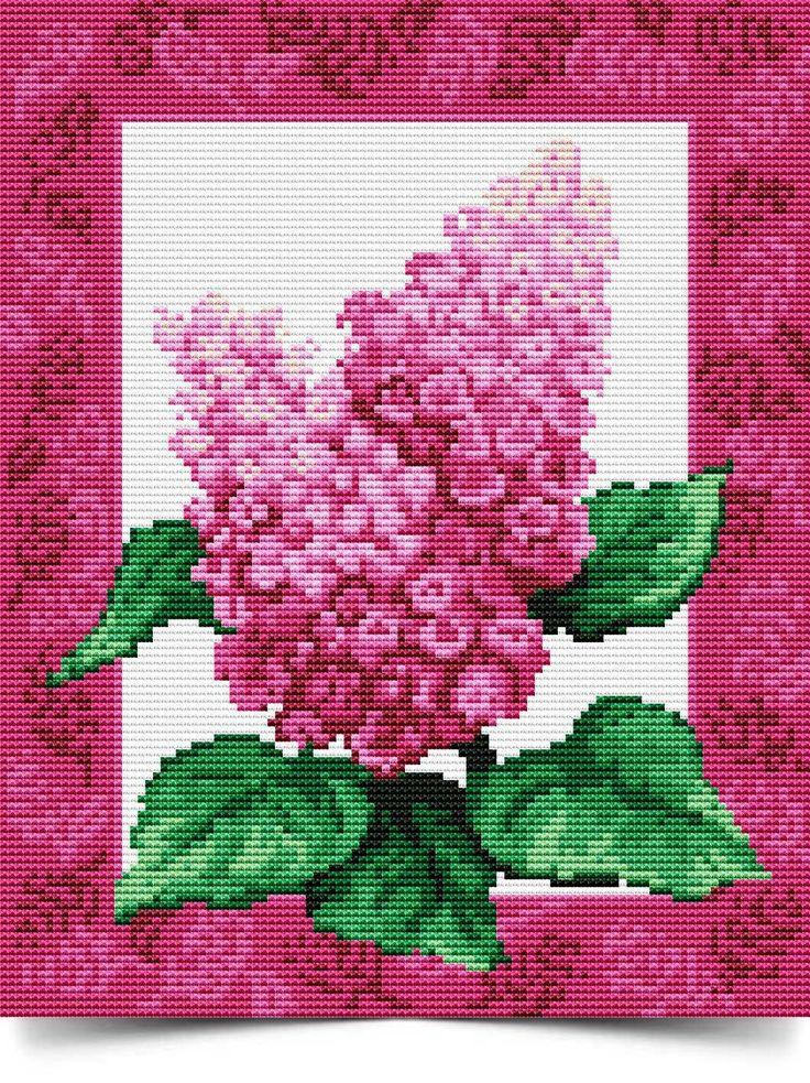 Схема вышивки бисером розы с сиренью